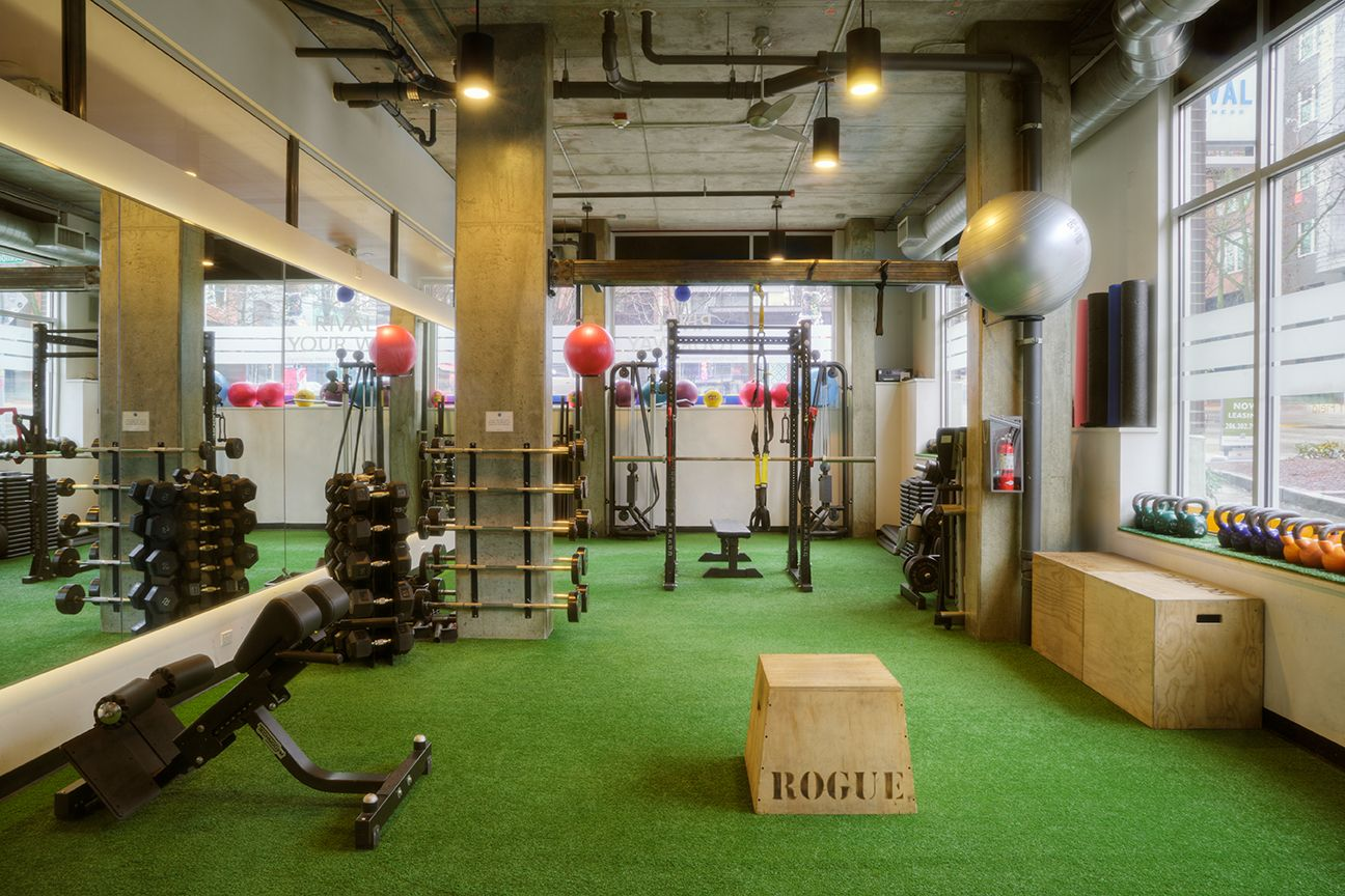 Turf area and functional training at Rival Fitness Gym in Capitol Hill neighborhood of Seatttle